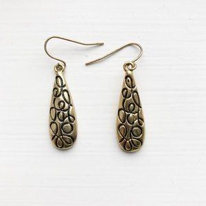 Brassy gold & black swirl teardrop drop earrings